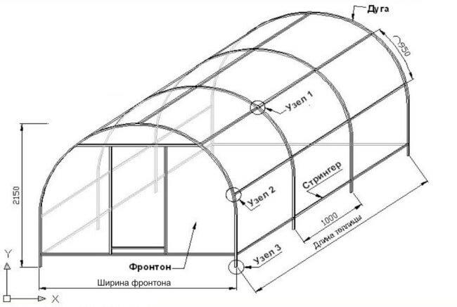 Пример чертежа теплицы из труб